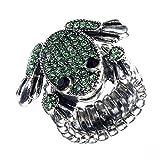 Girlie-Ring mit süßem Frosch, Green Frog, Strass