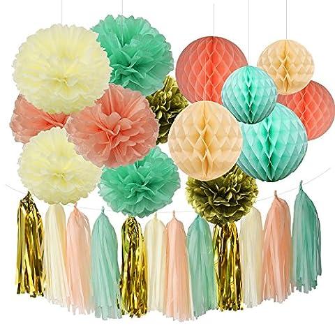Furuix Peach Mint Cream Gold Tissue Pom Pom Flower Tissue Paper Pompom Honeycomb Balls Paper Flower Wedding Party Decoration Tassel Garland for Baby Shower Birthday Decoration Tea Party