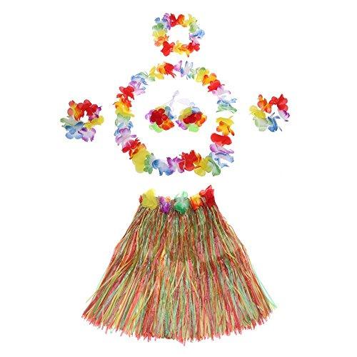 Anself 6 Teilig Hawaiian Kostüme Grass Tanzen Rock und BH Set für (Party Kostüme Motto Luau)