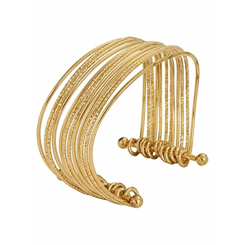 Saree Fancy (Indian Bollywood Designer Jewellery Golden Fancy Party Wear Adjustable Cuff and Kada Bracelet for Girls & Women)