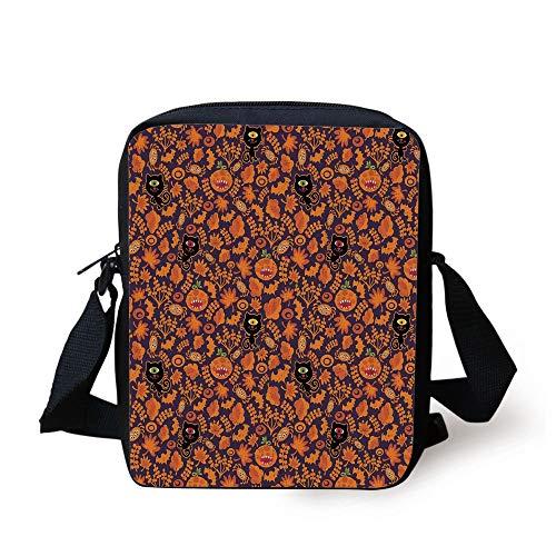 ween,Halloween Themed Elements on a Purple Background Scary Mosters Decorative,Dark Purple Orange Print Kids Crossbody Messenger Bag Purse ()
