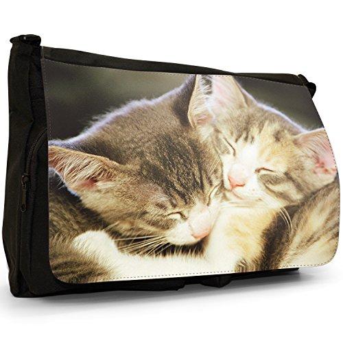 Gattini Nero Grande borsa scuola nero Cats Adorable Cute Kittens Asleep Together Furry