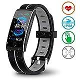 Fitness Armband mit Pulsmesser Fitness Tracker Herzfrequenz Smart Armband Uhr Wasserdichtes IP68 Aktivitätstracker mit Blutdruckmesser Schrittzähler Schlaf-Monitor für Damen Herren iPhone Android
