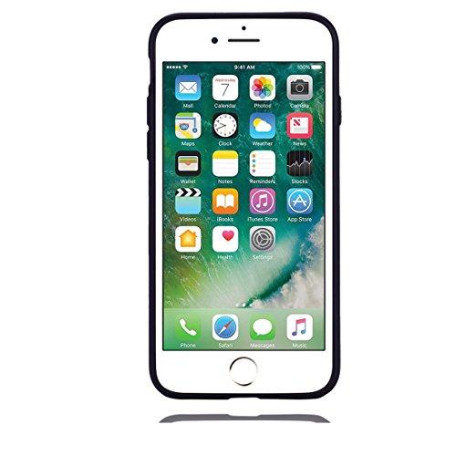 iPhone 7 Copertura,Modello variopinto di Bling del fumetto sveglio creativo Custodia protettiva della pelle in gomma sottile TPU Case per iPhone 7 4.7inch,Stelle Unicorn nero