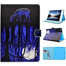 iPad Mini 1 / 2 / 3 Case, Funda Libro para iPad Mini 3/2/1, Asnlove Smart Folio Carcasa de Cuero Cubierta con TPU Silicona Case para Tablet Ultra Slim Función de Soporte Ranuras Tarjetas y Magnetica Protectora Tapa Trasera y Pantalla Design Luna Arboles Ciervo