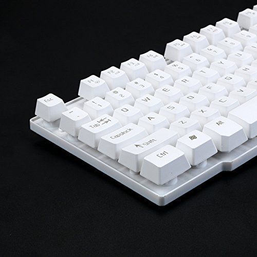 SUImeito Gaming Wired Tastatur 103 Tasten Wired USB Metal Base Keyboard for Game for LOL weiß weiß (Ps3 Spiele-combo)