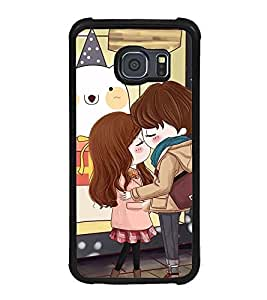 Fuson Premium 2D Back Case Cover Cute lovers With White Background Degined For Samsung Galaxy S6 Edge::Samsung Galaxy Edge G925