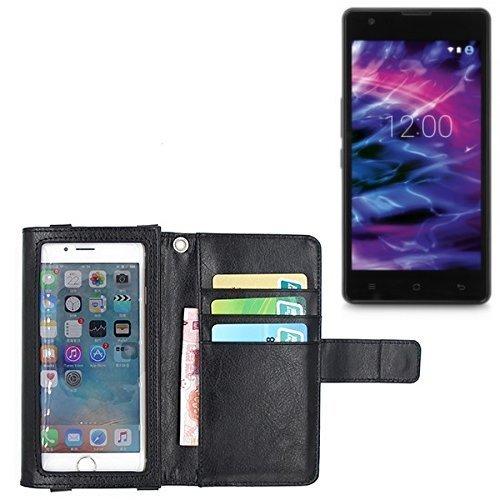 K-S-Trade Für Medion Life E5020 Schutz Hülle Case mit Displayschutz/Schutzfolie Flip Cover Wallet case Etui Hülle für Medion Life E5020 schwarz