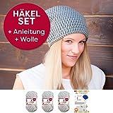 myboshi Mütze Häkelset Beanie Nemuro mit Häkelanleitung + 3 Knäuel Wolle + selfmade Label Farbe (silber, ohne Häkelnadel)