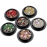MWOOT Pietre Strass per Unghie Artigianato Artistico, 6 scatole Cristalli Misti Pietre preziose Perline per Unghie Fai-da Te Art