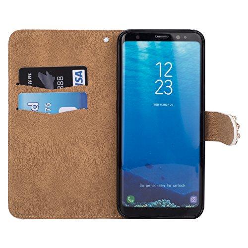 Galaxy S8 Plus Hülle,Grandoin® Bling Diamant Schmetterling Handyhülle im Brieftasche-Stil für Samsung Galaxy S8 Plus Handytasche PU Leder Flip Cover Book Case Schutzhülle mit [aktualisierter TPU Innen Weiß