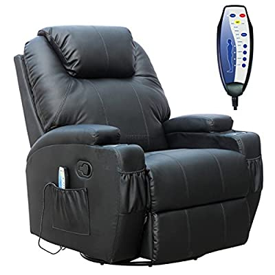 FoxHunter Bonded Leather Massage Cinema Recliner Sofa Chair Armchair Swivel Rocking With Heating Function Cup Holder Black from KMS