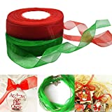 misscrafts lazos de Organza para decoración de regalo de Navidad 50M verde rojo