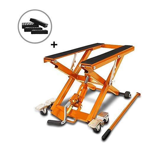 ConStands-Motorrad Hebebühne Scherenheber Hydraulisch XL inkl. Distanzstücke 500 kg Orange -