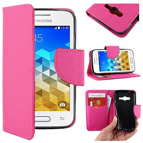 ebestStar - Compatibile Cover Samsung Galaxy Trend 2 Lite SM-G318H, Galaxy V Plus Custodia Portafoglio Pelle PU Protezione Libro Flip, Rosa [Apparecchio: 121.4 x 62.9 x 10.7mm, 4.0'']