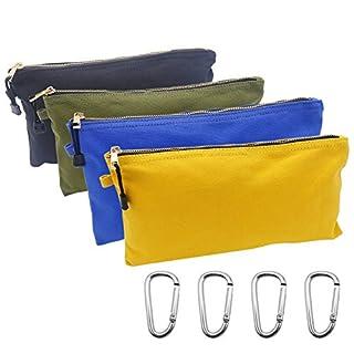 Tenn und Leinwand Reißverschluss Tool Pouch, 4Stück Werkzeug Organisieren Taschen mit Karabiner für Handwerkzeuge Elektronische Gear Toilettenartikel