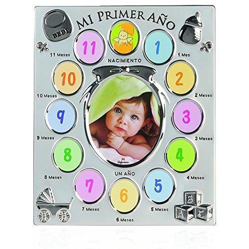 Portafotos nacimiento infantil 12 meses marco metálico infantil