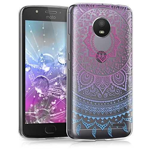 kwmobile Motorola Moto E4 Hülle - Handyhülle für Motorola Moto E4 - Handy Case in Blau Pink Transparent