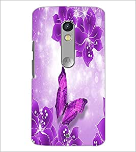 PrintDhaba Flowers and Butterfly D-1047 Back Case Cover for MOTOROLA MOTO X PLAY (Multi-Coloured)