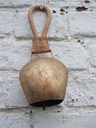Wunderschöne Kuhglocke, Eisen brossiert, Edelrost, 25 cm, Lederband -