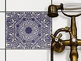 creatisto Küchenfliesen | Dekorativ-Dekorsticker Fliesen renovieren Bad-Folie Badezimmergestaltung | 25x20 cm Design Motiv Blue Mandala - 1 Stück