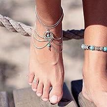 GYJUN Bracelet de cheville Turquoise eau gouttelettes creux chaîne Beach féminin