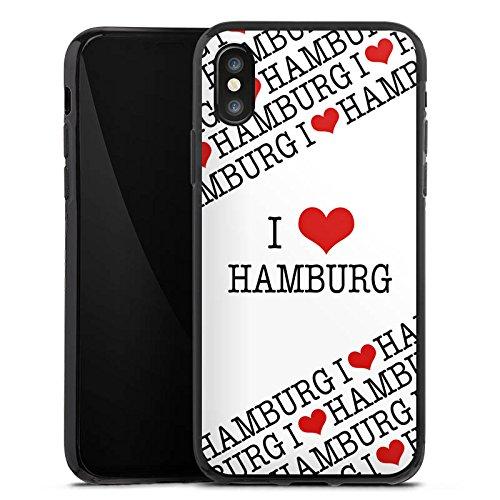 Apple iPhone X Silikon Hülle Case Schutzhülle Hamburg Herz Love Silikon Case schwarz