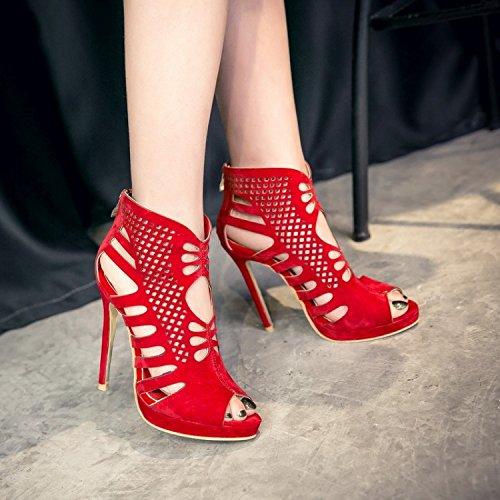 Suede Zipper sandali impermeabili della piattaforma con tacco alto pesce SCARPE DONNA Roma Stivali Belle Dimensione gules