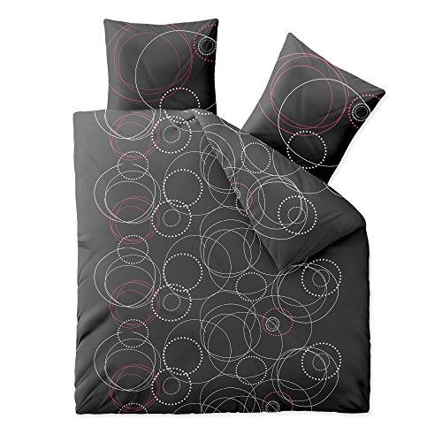 aqua-textil Trend Cariba Bettwäsche 3 teilig 200x220 Baumwolle atmungsaktiver weicher Bettbezug Kissen weiß grau anthrazit schwarz rot Kreis Punkt 0011748