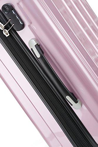 BEIBYE Hartschalen Koffer Trolley Rollkoffer Reisekoffer 4 Zwillingsrollen (Kofferset, Rosa) - 3