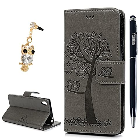 Sony Xperia E5 Case, YOKIRIN Stylish [Owl & Tree] Relief Embossed Premium PU Leather Wallet Folio Flip Stand Cover Case With Card Slots Cash Pouch Drop-Protection Bumper Shell Case for Sony Xperia E5 -