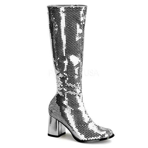 Bordello Stiefel mit Pailletten Spectacul-300SQ silber Gr. 44 (Silber Pailletten Stiefel)