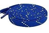 Schnürsenkel Flach Flachsenkel Streifen für Lässige Outdoor Schuhe Wanderschuhe Sportschuhe Turnschuhe Stiefel Twill - 8mm breit Blau-Weiß 140 CM