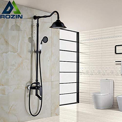 Öl eingerieben Bronze Badewanne Dusche Mischbatterie Set Einhand Wanneneinlauf mit Handbrause 8