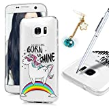 MAXFE.CO Case Made for Samsung S7 Edge Case Clear Ultra Slim Shockproof Protective Flexible TPU Silicone Case for Samsung Galaxy S7 Edge & One Touch Pen & One Dust Plug, Rainbow Unicorn