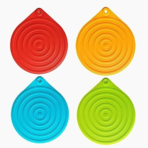 Salvamanteles, salvamanteles silicona, iNeibo, salvamanteles individuales, salva platos, protector mesa, protector sartenes, utensilios cocina 100% silicona sin BPA. Set de 4 piezas antideslizantes