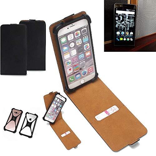 K-S-Trade Flipstyle Case für Kodak Ektra Schutzhülle Handy Schutz Hülle Tasche Handytasche Handyhülle + integrierter Bumper Kameraschutz, schwarz (1x)
