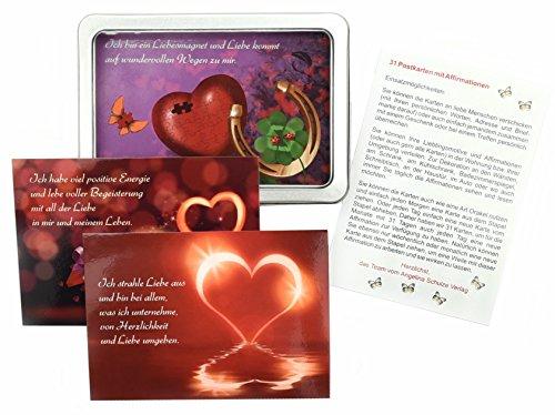 Preisvergleich Produktbild Affirmationen Liebe mit 31 Sprüchekarten zur Affirmation - Sprüche von Herzen als Karten Liebe Set - Affirmationskarten für Erwachsene (31 Stück Postkarten Set Liebe)