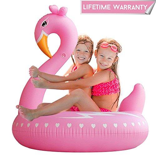 Leeron Schwimmring Flamingo Pool-Schwimmtier Schwimmring für Kinder/Erwachsene Aufblasbarer Luftmatratze Wasser für Pool Party Strand (Schwäne)