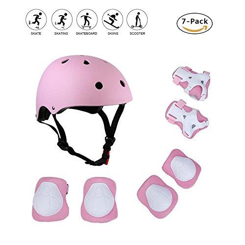 Coolgo® Kids Skateboard Helmet Protective Gear Set, COOLGOEU 7 in 1 Adjustable Knee Elbow Pads Wrist Guards Toddler Protection Safety for Scooter Skating Bike (Pink)