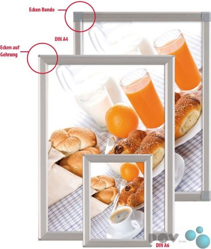 Preisvergleich Produktbild POV® Alu Klapprahmen, Plakatrahmen, Bilderahmen OptiFrame, DIN A6 Rondo, 14 mm