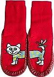 normani Hüttenschuh Söckchen mit lustigen Tiermotiven, echte Rindsledersohle | 5 Motive zur Auswahl Farbe Katze Größe 26-27 - 1 Paar