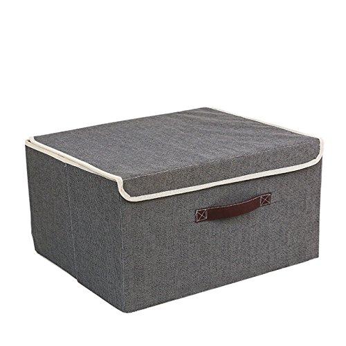 THEE Aufbewahrungsbox Stoffkiste Ablagebox Schlafzimmer Accessoire-Organizer Aufbewahrungskasten mit deckel Gray (Lagerplätze Und Körbe)