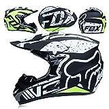 WLBRIGHT Erwachsene Motocross-Helm Geschenkbrille Maskenhandschuhe Fox Moto Offroad-Rennhelm Für Mann Und Frau,C,L