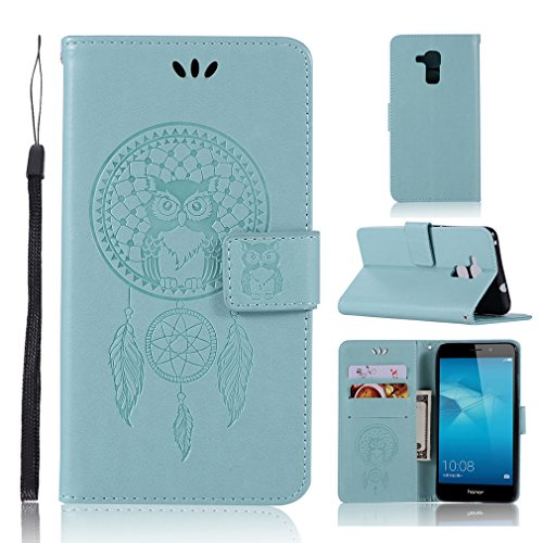 LMAZWUFULM Hülle für Honor 5C / Huawei 7 Lite/Huawei GT3 (5,2 Zoll) PU Leder Magnetverschluss Brieftasche Lederhülle Eule und Traumfänger Muster Standfunktion Ledertasche Flip Cover Grün