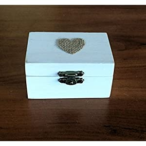 Ring-Träger Box, Hochzeit/Verlobung-Ring-Box, personalisierte Hochzeit Ring-Box, Träger Ringkissen, rustikale Ehering Halter, Kissen Träger Box 8,5x5x4,5 Maßnahmen cm.