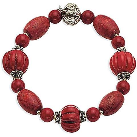 Sterling Silver Beads Antiqued e corallo rosso del braccialetto di stirata