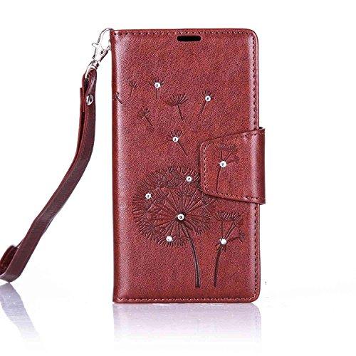 Custodia Microsoft Lumia 650 ISAKEN Cover Nokia N650 con Strap, Elegante borsa Farfalla Design in Pelle Sintetica Ecopelle PU Case Cover Protettiva Flip Portafoglio Case Cover Protezione Caso con Supp Dente di leone : marrone