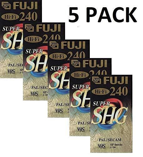 5 Stück 240 SHG Fuji VHS mit VHS-Kassetten
