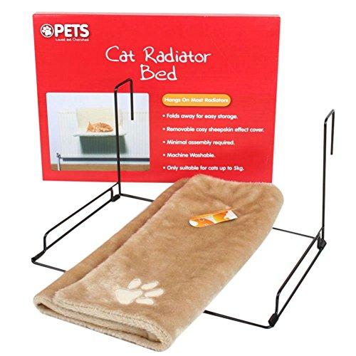 SODIAL Cama del radiador de los gatos y de los perros cuna de colchon de felpa calida cama de gatos mascota cachorros de felpa de animal con calido club (beige)